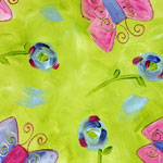 Pink and Purple Butterflies on Lime - 1056